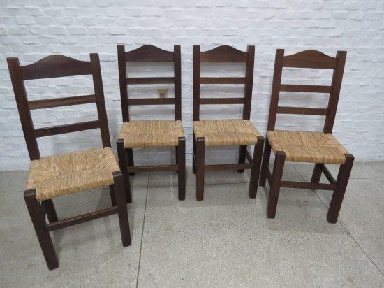 Lote: 33 - Lote: 33 - 4 sillas con totora