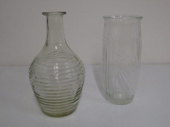 Lote: 7 - Lote: 7 - 2 floreros de vidrio antiguos