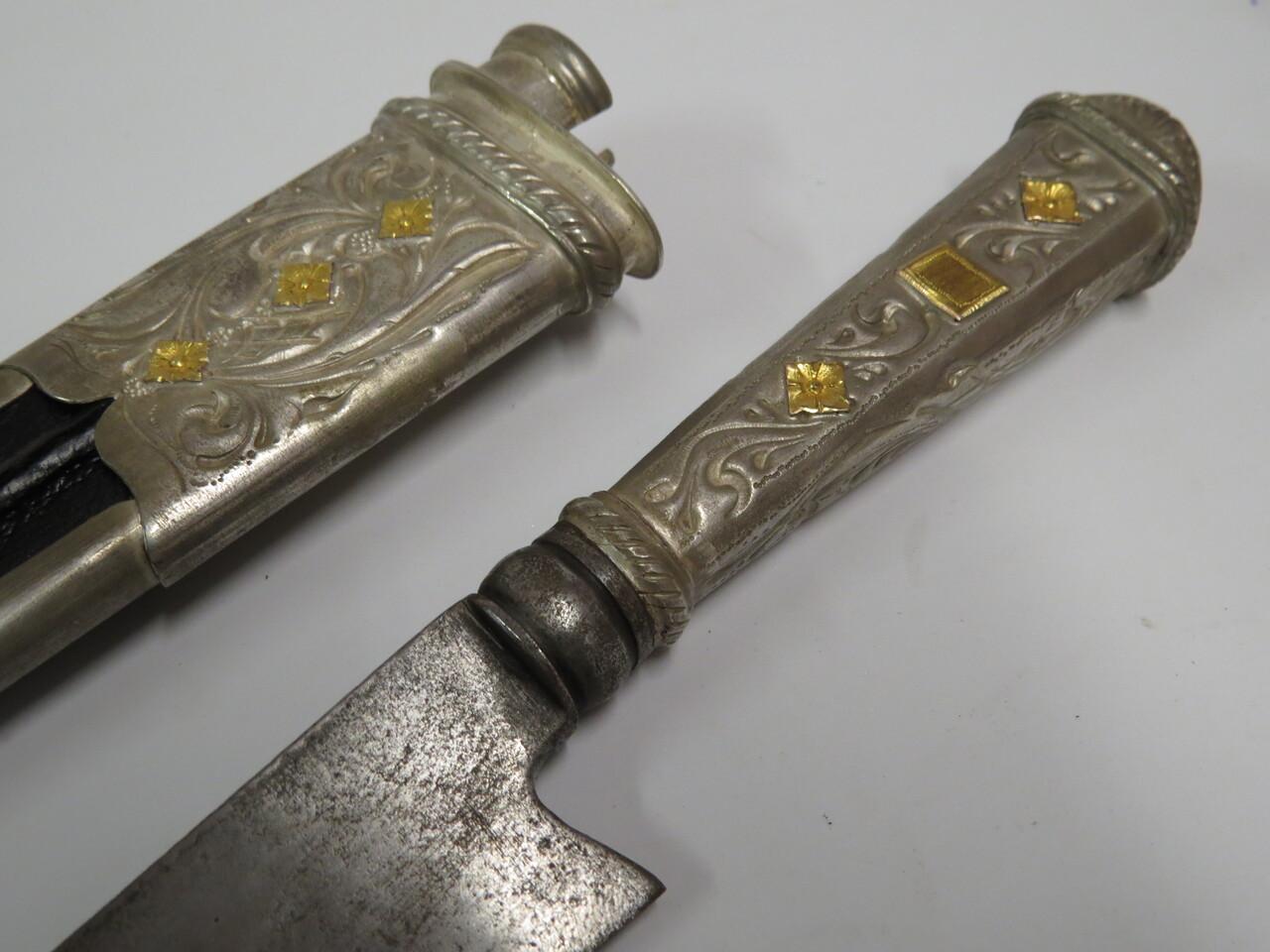 Lote: 74 - Lote: 74 - Cuchillo criollo plata y oro