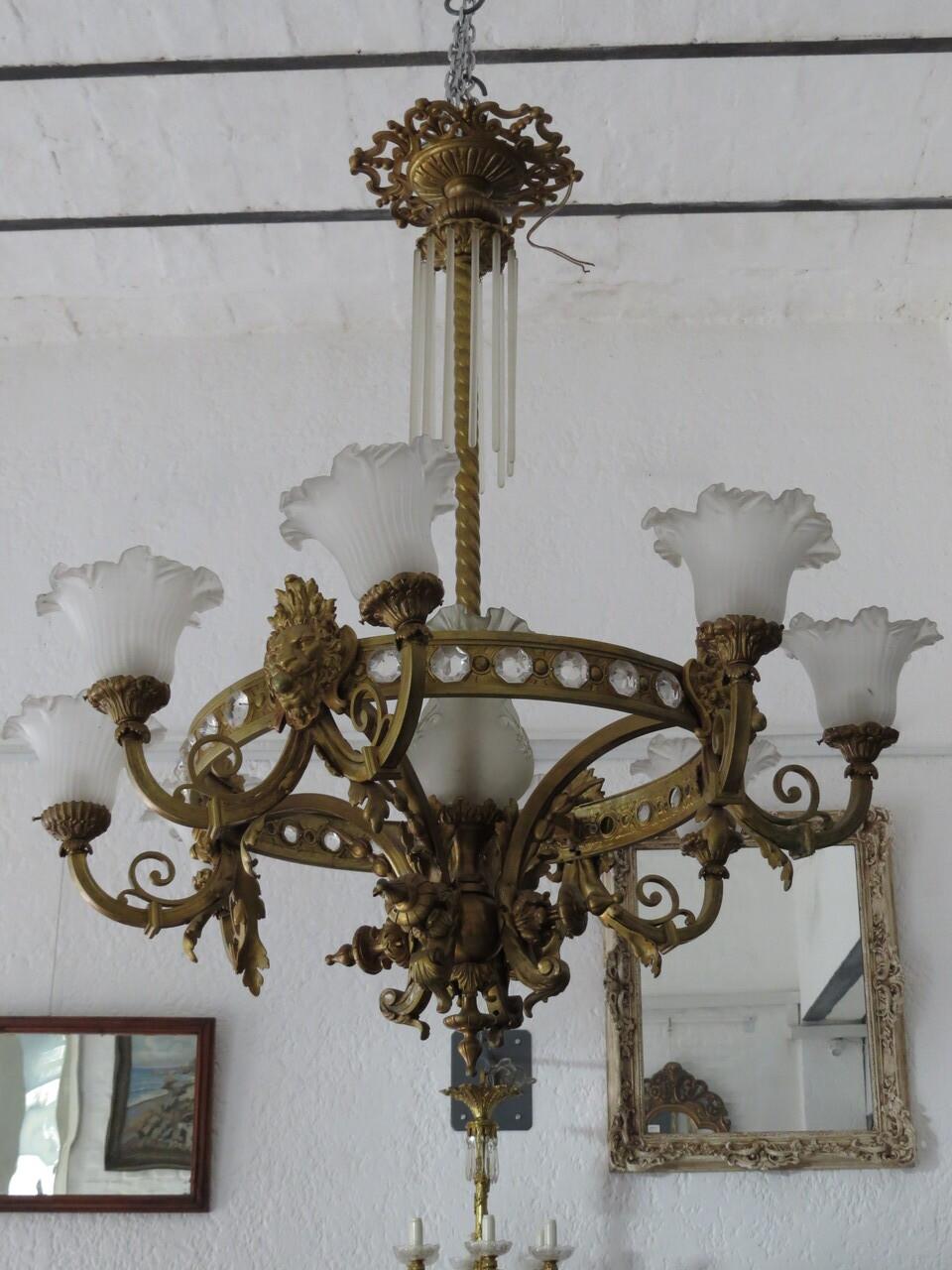 Lote: 89 - Lote: 89 - Araña colonial de bronce